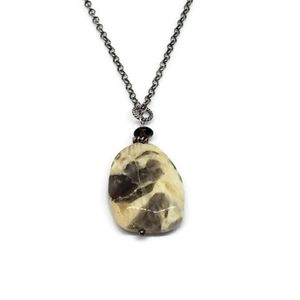 Raw Natural Gemstone Sterling Silver Necklace